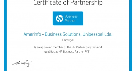 Certificado de parceria HP 2018.